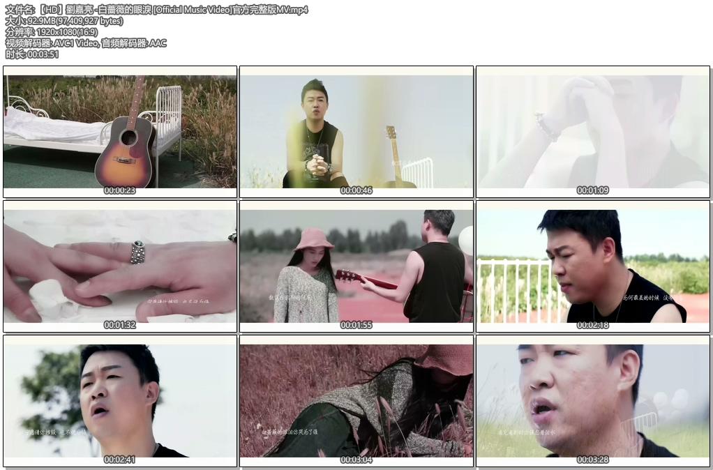 [1080P] 刘嘉亮 白蔷薇的眼泪 官方原版无水印MV