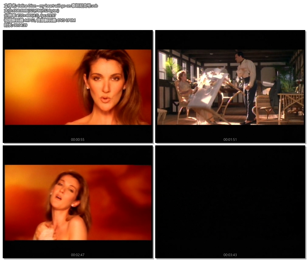 [480P] Celine Dion - my heart will go on 电影《泰坦尼克号》主题曲 无水印